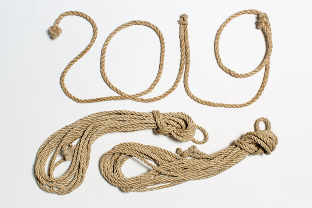"""""""2019"""" formed with rope"""