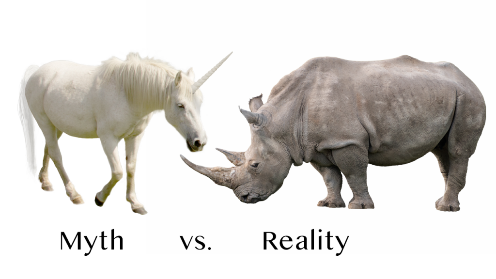 "A unicorn labeled ""myth"" next to a rhino labeled ""reality"""